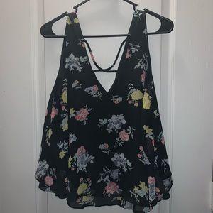 Black floral strappy back blouse/tank Decree XL